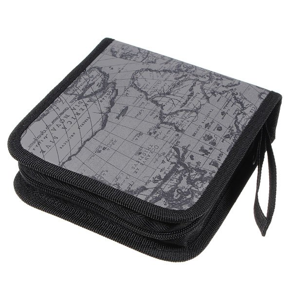 40 Disc CD DVD Album Holder Storage Case Bag Map Pattern