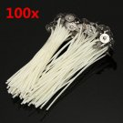 100pcs 12cm Wax Candle Cotton Wicks with Metal Sustainers