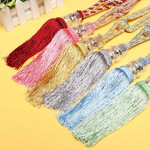 1 Pair Crystal Beaded Tassels Tieback Curtain Cord 6 Colors