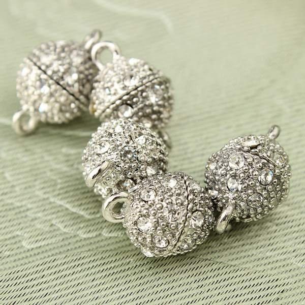 5pcs Round Bead Rhinestone Magnetic Clasp Necklace Pendant Charm DIY
