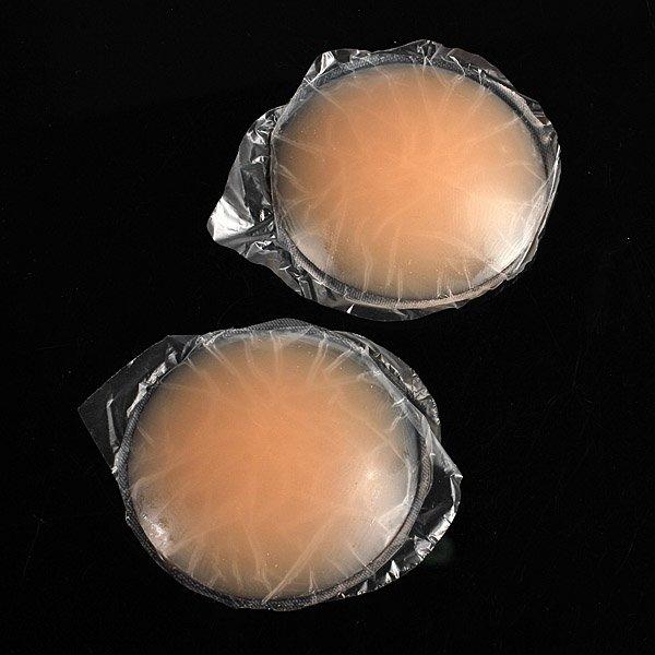 2 Round Skin Adhesive Reusable Silicone Nipple Cover Bra Pad