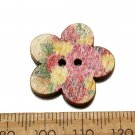 100pcs Mixed Color Flower Shape DIY Sewing Wooden Clothes Buttons