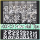 100pcs Black Leopard Dots False Acrylic 3D Nail Art Tips
