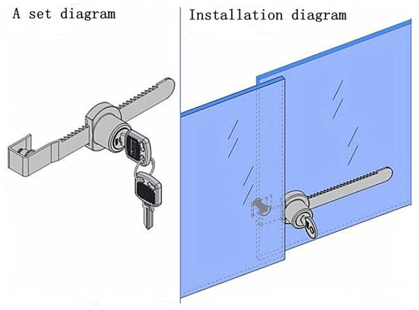 Mini Durable Sliding Glass Push Door Ratchet Lock