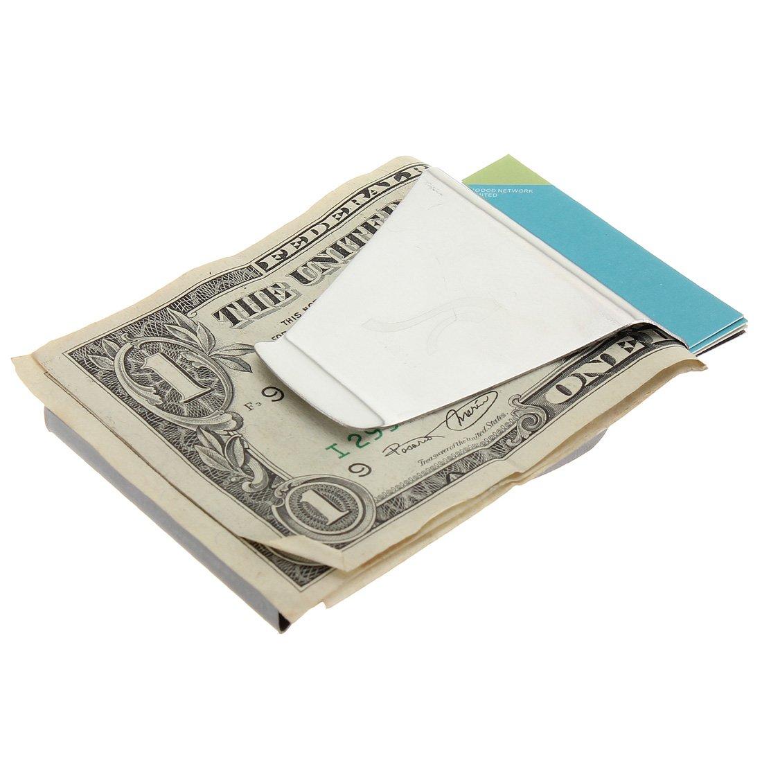 Double Side Bank Note Cash Bills Credit Card Metal Holder Clip Wallet
