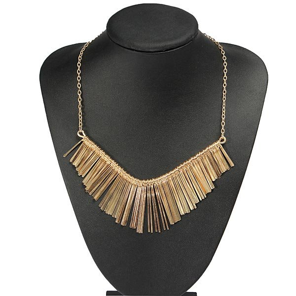 Punk Gold Metal Multilayer Tassels Chain Choker Collar Necklace