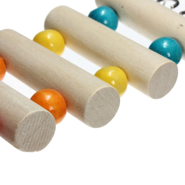 Flexible Wooden Color Beads Hamster Bird Ladder Hanging Bridge Toy