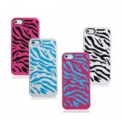 Zebra Design Hard Soft Combo Silicone Case Cover for iPhone 5 5G