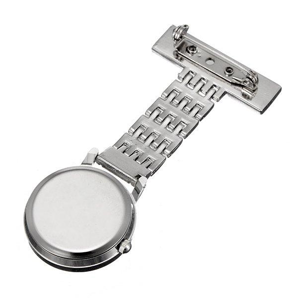 Silver Stainless Steel Quartz Brooch Doctor Nurse Pocket Watch