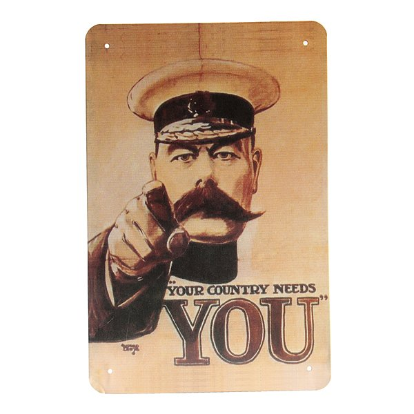Your Country Needs You Tin Sign Vintage Kitchener Pub Bar Wall Decor