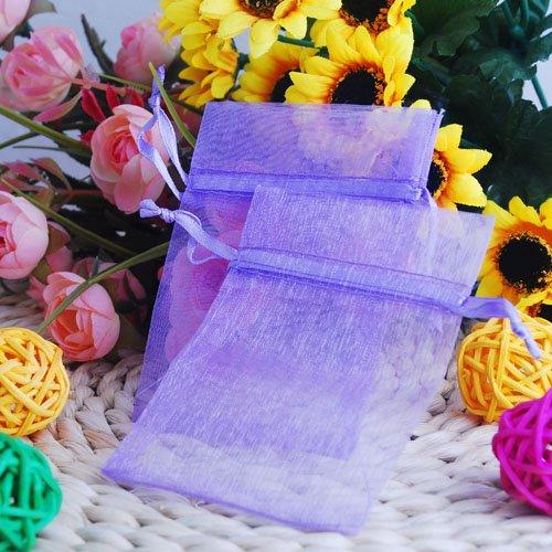 100 Pcs 7X9cm Purple Organza Pouch Jewellery Gift Bag