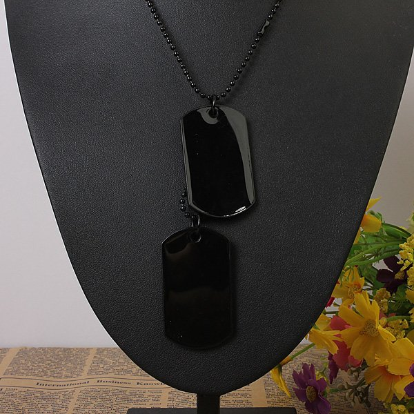 2pcs Mens Army Style Black Dog Tag Pendant Necklace Long Chain
