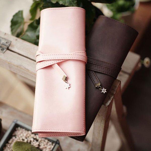Leather Sakura Pen Pencil Bag Case Organizer Pouch Bag