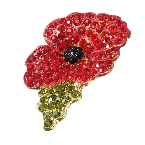 Sparkle Red Rhinestone Crystal Poppy Flower Brooch Pin