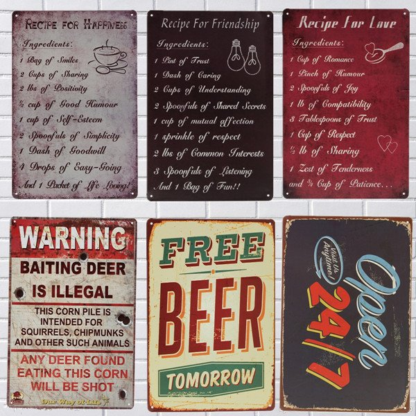 Tin Sign Vintage Metal Plaque Home Bar Cafe Garage Pub Wall Decor