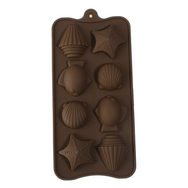 8 Cups Sea Star Shell Fish Chocolate Silicone Mold