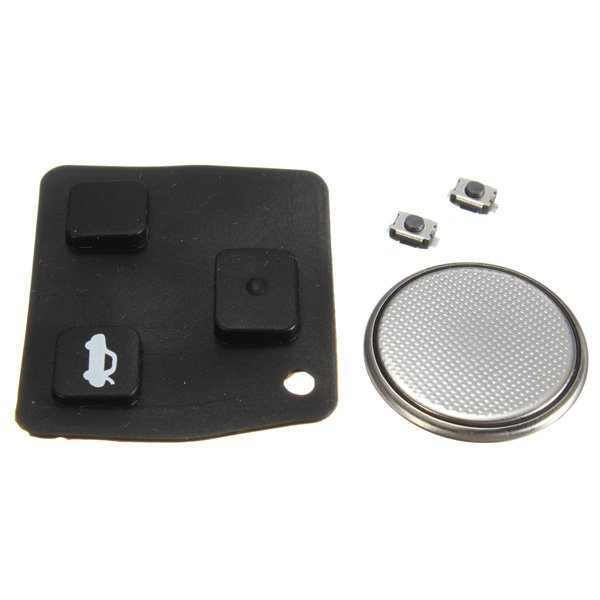 Remote Key Rubber Pad Battery & 2 Switch Repair Kit for Toyota Avensis