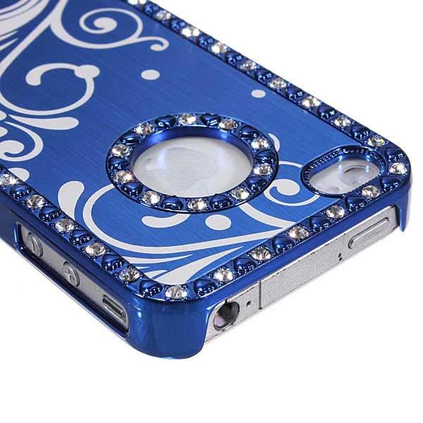 Aluminum Diamond Rhinestone Chrome Bling Hard Case For iPhone 4 4S