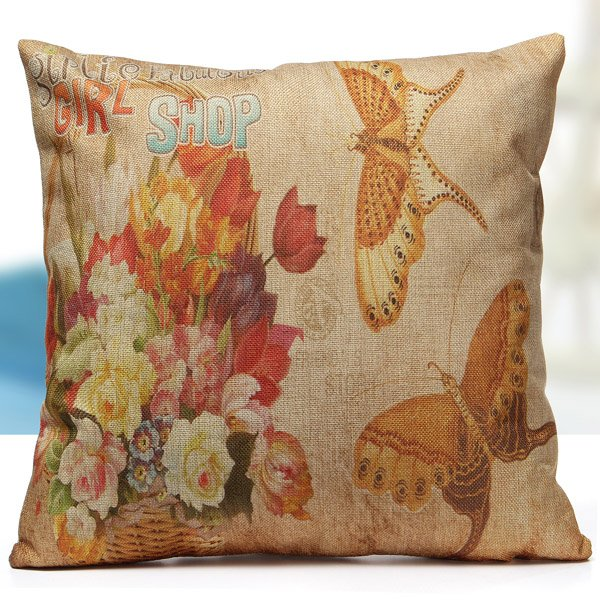 Butterfly Print Pillow Case Cotton Line Home Office Car Cushion Cover