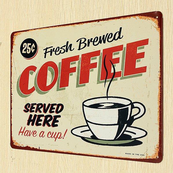 Coffee Tin Sign Retro Vintage Metal Plaque Bar Pub Cafe Wall Decor