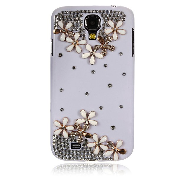 Crystal With Flowers Pattern Case For Samsung Galaxy S4 i9500
