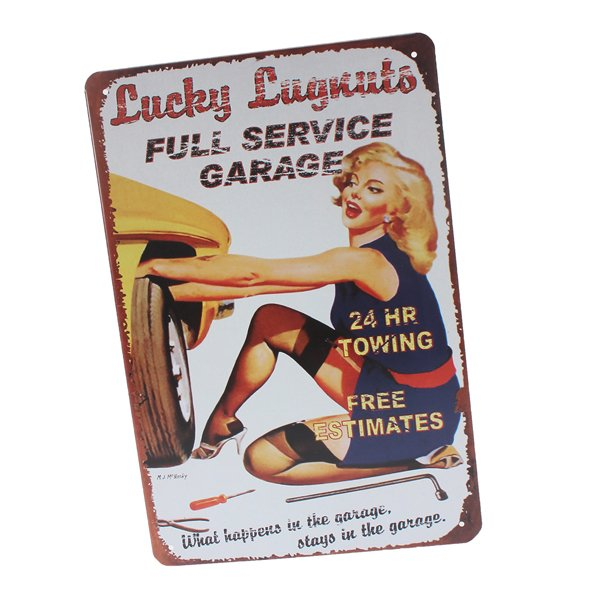 Lady Tin Sign Vintage Retro Metal Plaque Bar Pub Lounge Wall Decor