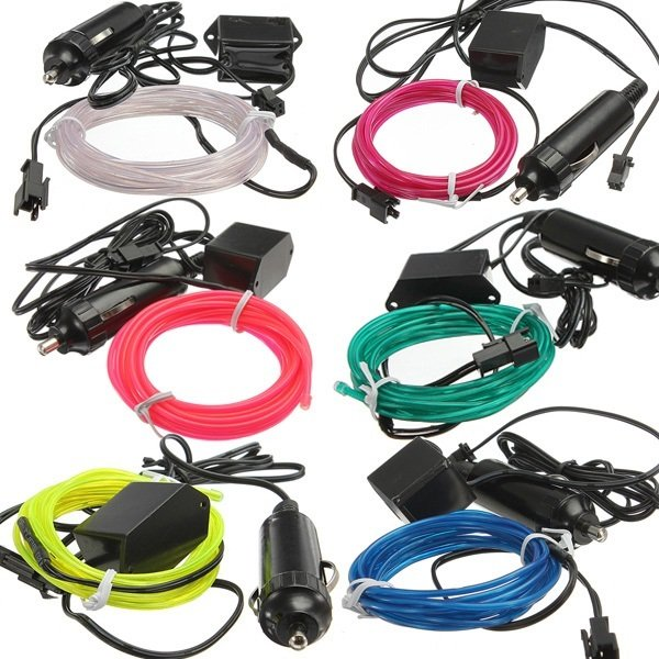 3M EL Neon Light Effect Light Cable Cord Wire 12V Inverter