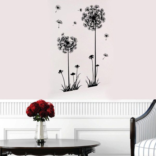 Decorative Dandelion Wall Stickers Brown Wallpaper