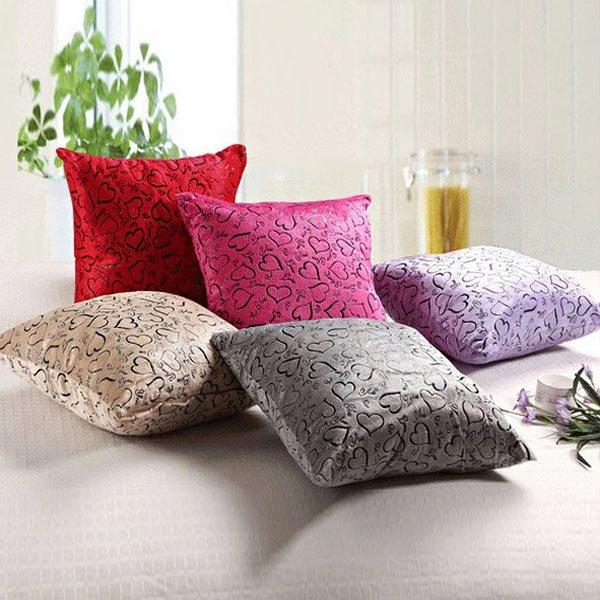 Soft Velboa Sweet Heart Zippered Pillow Case Sofa Decor Cushion Cover