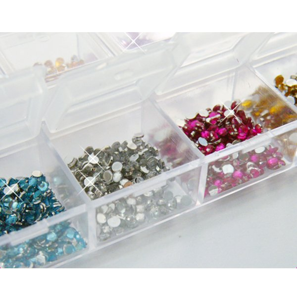 12 Colors 2mm Nail Art Glitter Rhinestones Case Box