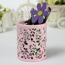 Hollow Out Rose Metal Round Brush Pot Pen Container 4 Colors
