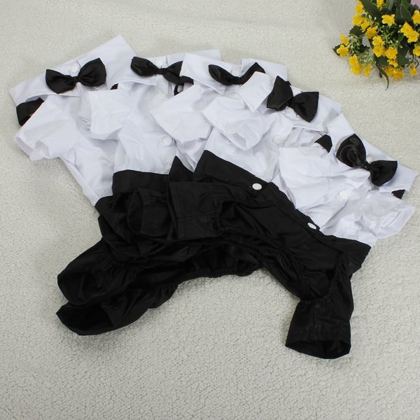 Pet Dog Tuxedo Suit Bow Tie Collared Puppy Shirt Wedding Outfit