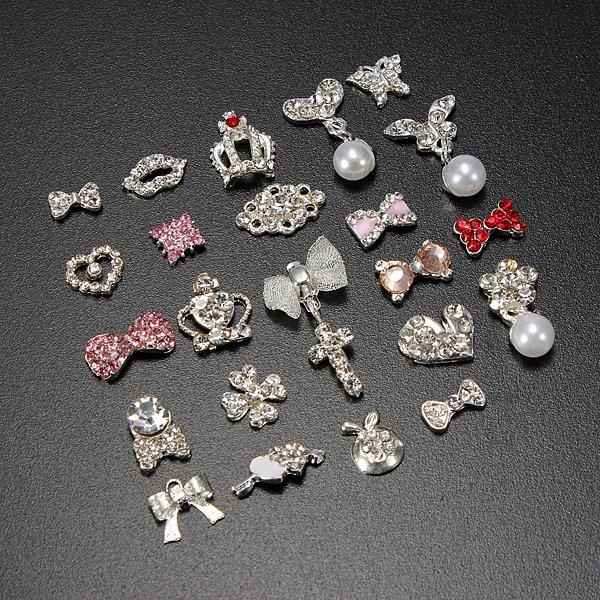 3D Silver Slice Glitter Rhinestone DIY Nail Art Tips Decoration