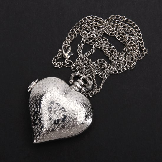 Silver Heart Shape Quartz Pocket watch Necklace Chain