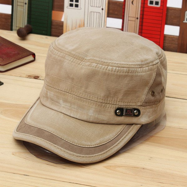 Man Woman Vintage Military Washed Cadet Hat Army Plain Flat Cap