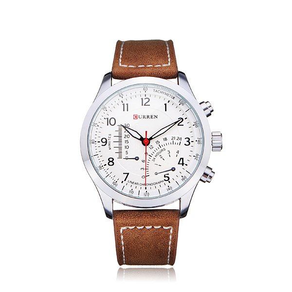 Curren 8152 PU Leather Military Number White Men Wrist Quartz Watch