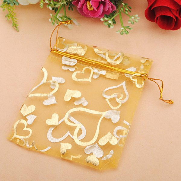 100pcs Golden Luxury Heart Organza Jewelry Pouch Favor Gift Bag