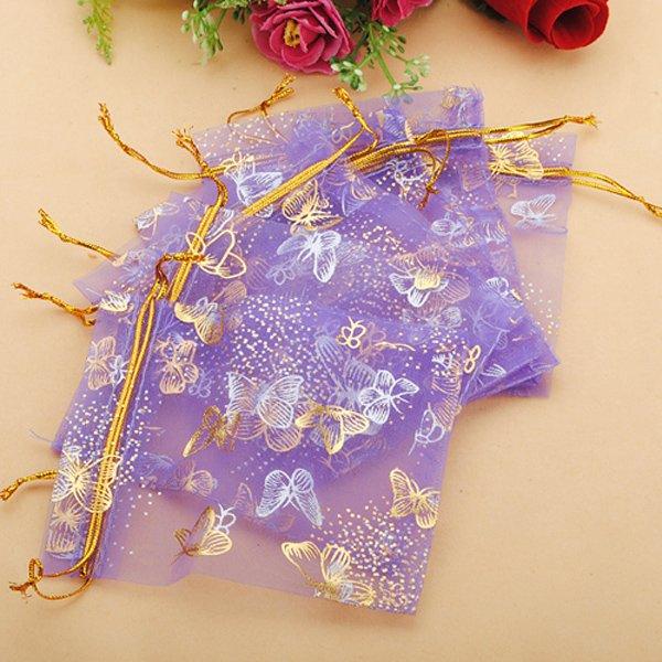 100pcs Purple Butterfly Organza Jewelry Pouch Favor Gift Bag 9.5X12cm