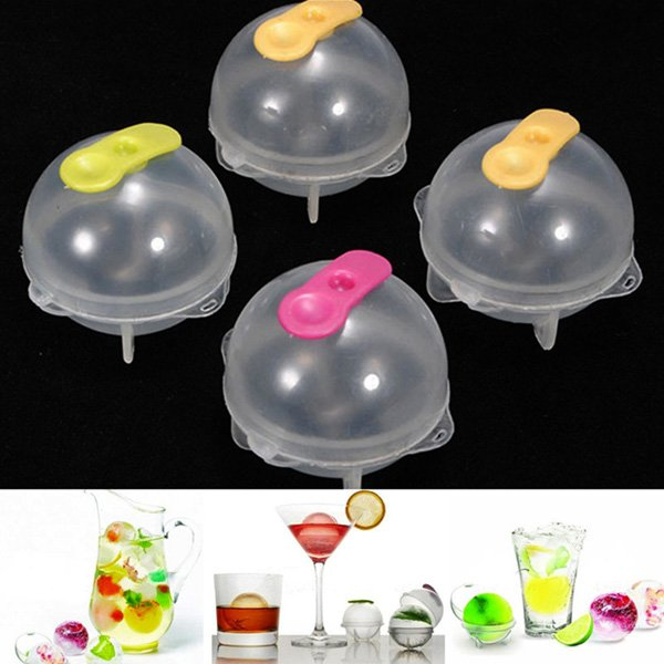 4Pcs Plastic Round Ice Cube Ball Brick Freeze Tray Sphere Molds