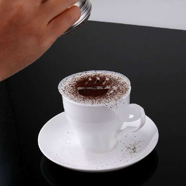 16PCS Coffee Cappuccino Stencils And Chocolate Shaker Duster Sifter