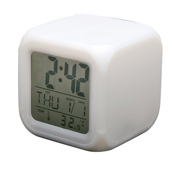 7 LED Color Change Digital Alarm Thermometer Clock New
