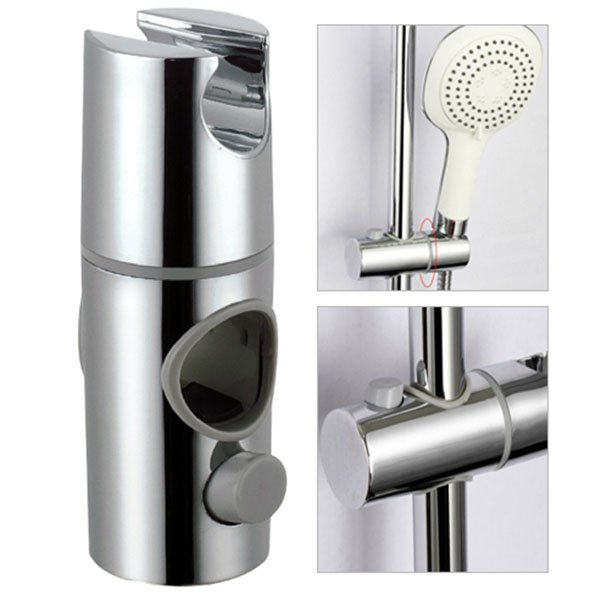 ABS Chrome Shower Rail Head Slider Holder Adjustable Bracket