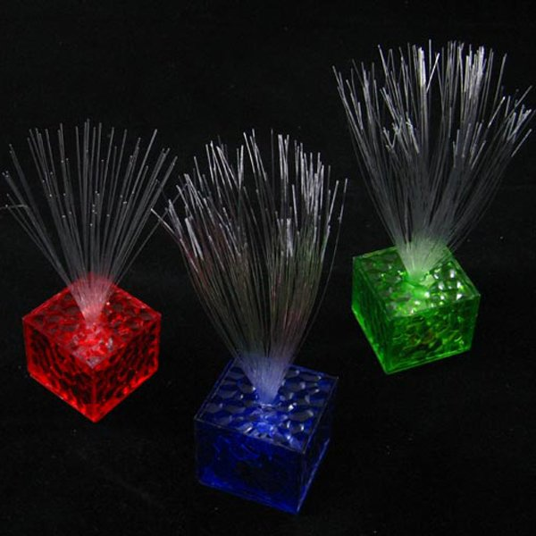 7 Color Changing Optical Fiber Flashing LED Cube Night Light Lamp