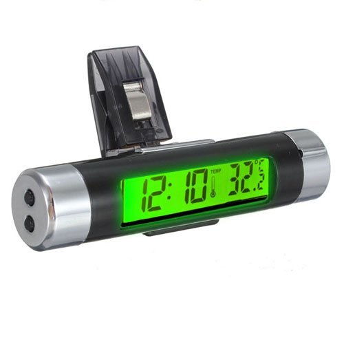 LCD Clip-on Digital Backlight Automotive Thermometer Clock Calenda