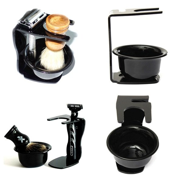 Acrylic Black Shaving Razor Brush Holder Bowl Stand Set