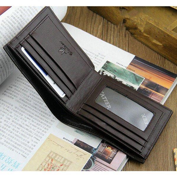 Men Embossing Leather Credit Card Holder Short Purse Wallet