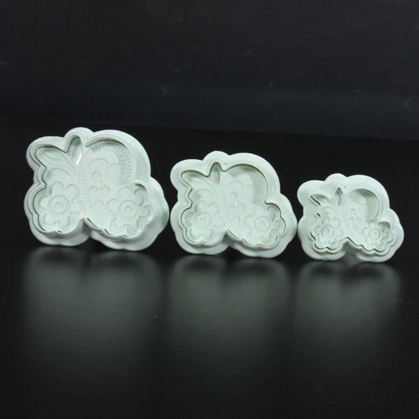 3Pcs Fondant Lace Mold Cake Cookies Cutter Decorating Mould