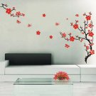 Red Blossom Flowers Tree Removable Wall Stickers