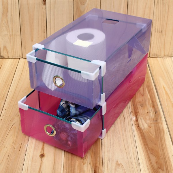 Transparent Shoes Storage Drawer Container Organizer Foldable Case Box