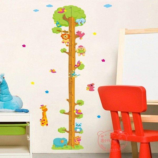 Cartoon Animal Tree Wall Stickers Children's Measuring Wall Sticker